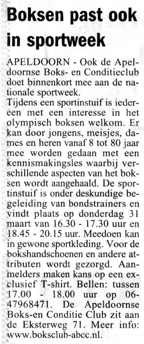 boksen_abcc_Nationale_sportweek_2005_krantenartikel